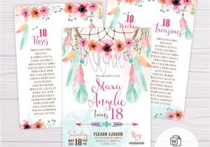Diy Invitation Card for Debut Pink Green Bohemian Debut Invitation Template Debut