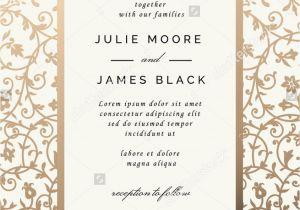 Diy Invitation Card for Debut Vintage Wedding Invitation Template with Golden Floral Backg