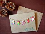 Diy Xmas Pop Up Card Handmade 3d Stockings Christmas Card Handpainted Watercolor