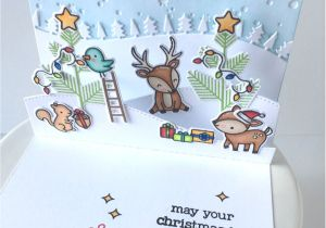 Diy Xmas Pop Up Card Lawn Fawn Intro Everyday Pop Ups Stitched Hillside Pop Up