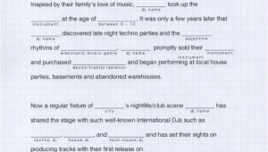 Dj Biography Template Ra Dj Bio Mad Libs