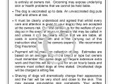 Dog Grooming Contract Template Grooming Contract Personalised Groomergraphix
