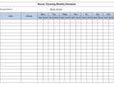 Domestic Cleaning Schedule Template Free House Cleaning Schedule Template