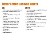 Dos and Don Ts Of Cover Letters Creating Resumes and Cover Letters