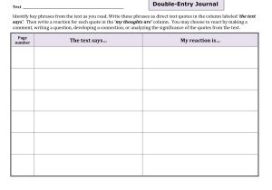 Double Sided Journal Entry Template Content Specific Literacy Focusing On Comprehension