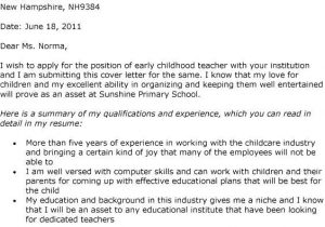 Early Childhood Education Cover Letter Examples Early Childhood Education Resume Cover Letter Krida Info