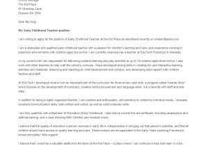 Early Childhood Education Cover Letter Examples Holiday Gift Letter for Teacher Just B Cause