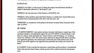 Earnest Money Contract Template Earnest Money Agreement