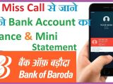 Easy Card Bank Of Baroda How to Check Bob Account Balance Mini Statement by Missed Call