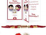 Easy Card Of Raksha Bandhan Indigifts Rakhi for Rakshabandhan Thread Cushion Rakhi
