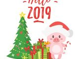 Easy New Year Greeting Card Vector Cartoon Style Illustration Of Happy 2019 New Year