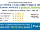 Ebay Feedback Request Template 50 Blue Ebay Seller Thank You Cards 5 Star Feedback Rating