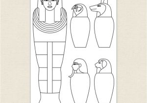 Egyptian Sarcophagus Template Egyptian Sarcophagus and Canopic Jars Colouring Sheet