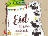 Eid Card for Eid Ul Adha Creative Sheeps Illustration with Mosque Dome Design and
