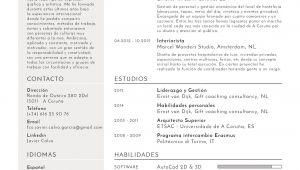 Ejemplos De Resume Profesional En Espanol Diseno atractivo De Cv En Espanol Javier Calvo Arquitecto
