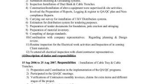 Electrical Engineer Resume Job Responsibilities Electrical Engineer Duties and Responsibilities Cv
