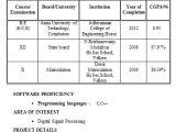 Electronics Engineering Fresher Resume format Fresher Electronics Engineering Student Resume format