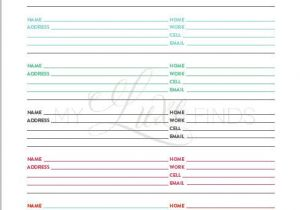 Email Address Book Template Address and Phone Book organizer Printable Home