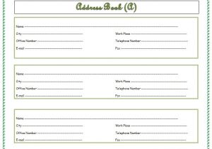 Email Address Book Template Address Book Template Record Your Important Addresses