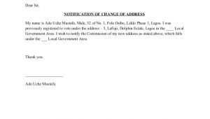 Email Address Change Notification Template Template Change Of Address Notification Inec