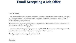 Email Template Accepting Job Offer 7 Job Offer Email Examples Samples Examples