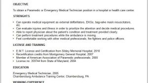 Emergency Medical Technician Resume Template Nursing Medical Resume Examples