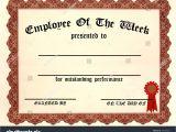 Employee Of the Week Certificate Template Employee Week Certificate Fill Blanks Stock Illustration