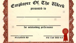 Employee Of the Week Certificate Template Employee Week Certificate Fill Blanks Stock Illustration