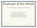 Employee Service Award Certificate Template Employee Of the Month Award