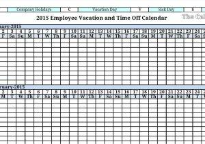 Employee Time Off Calendar Template 2015 Employee Vacation Absence Tracking Calendar 2015