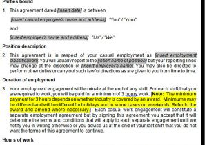 Employment Contract Template Australia Casual Employment Contract Template Australia