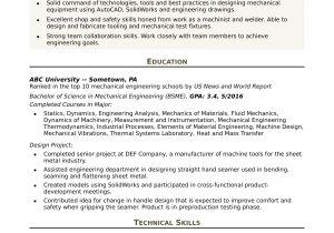 Engineer Resume Headline Sample Resume for An Entry Level Mechanical Engineer