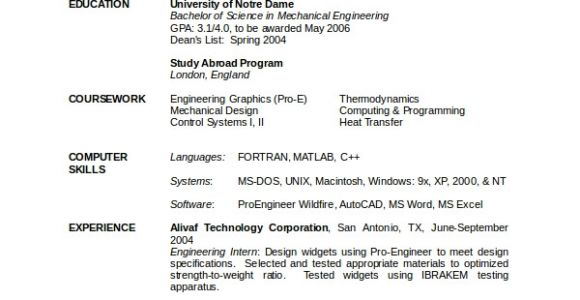 Engineer Resume Mechanical 10 Engineering Resume Template Free Word Pdf Document