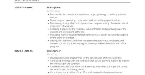 Engineer Resume Website Site Engineer Resume Samples and Templates Visualcv