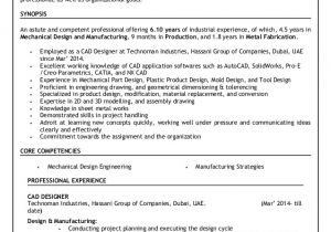 Engineer Resume with 1 Year Experience Resume Mechanical Design Engineer 6 10 Years Experience