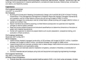 Engineering Technician Resume Civil Engineer Technician Resume Sample Livecareer