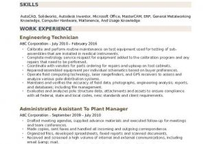 Engineering Technician Resume Engineering Technician Resume Samples Qwikresume