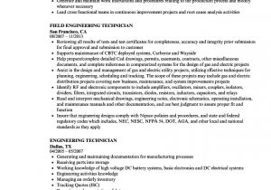 Engineering Technician Resume Engineering Technician Resume Samples Velvet Jobs
