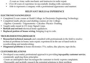 Engineering Technician Resume No College Degree Resume Samples Archives Page 2 Of 5