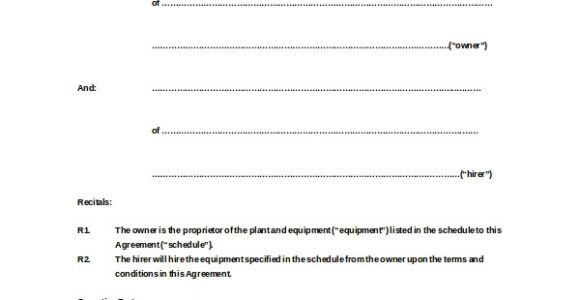 Equipment Hire Contract Template 20 Equipment Rental Agreement Templates Doc Pdf Free
