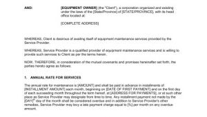 Equipment Maintenance Contract Template Equipment Maintenance Agreement Template Word Pdf by