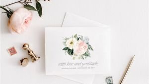 Etsy Thank You Card Wedding Printable Thank You Cards Wedding Template Editable Bridal Shower Wedding Shower Floral Blush Folded Card You Edit In Templett