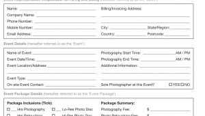 Event Photographer Contract Template Booking Information event Recap