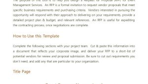 Event Planning Email Template event Management Rfp Template