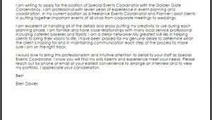 Event Staff Cover Letter Special events Coordinator Cover Letter Sample Cover