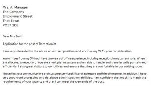 Example Of Cover Letter for Receptionist Position Cover Letter for A Receptionist Icover org Uk