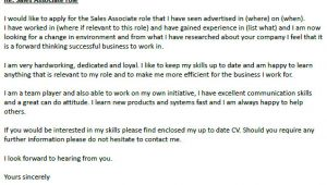 Example Of Cover Letter for Sales associate Position Sales associate Cover Letter Example Icover org Uk
