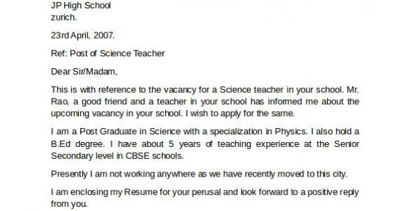 Examples Of Cover Letters for Teaching Jobs 10 Teacher Cover Letter Examples Download for Free