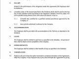 Expatriate Contract Of Employment Template Free Printable Employment Contract Sample form Generic