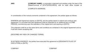 Extension Of Contract Template Extension Of Agreement Template Word Pdf by Business